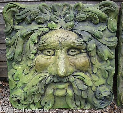 Green Man Fountain Mask large square wall plaque