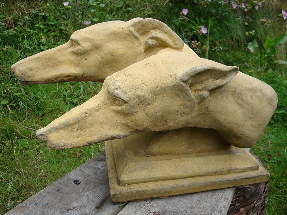 Greyhound dogs Heads garden ornament