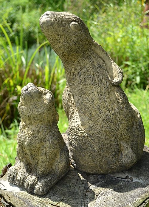 Mother & Baby Moon Gazing hare garden ornaments