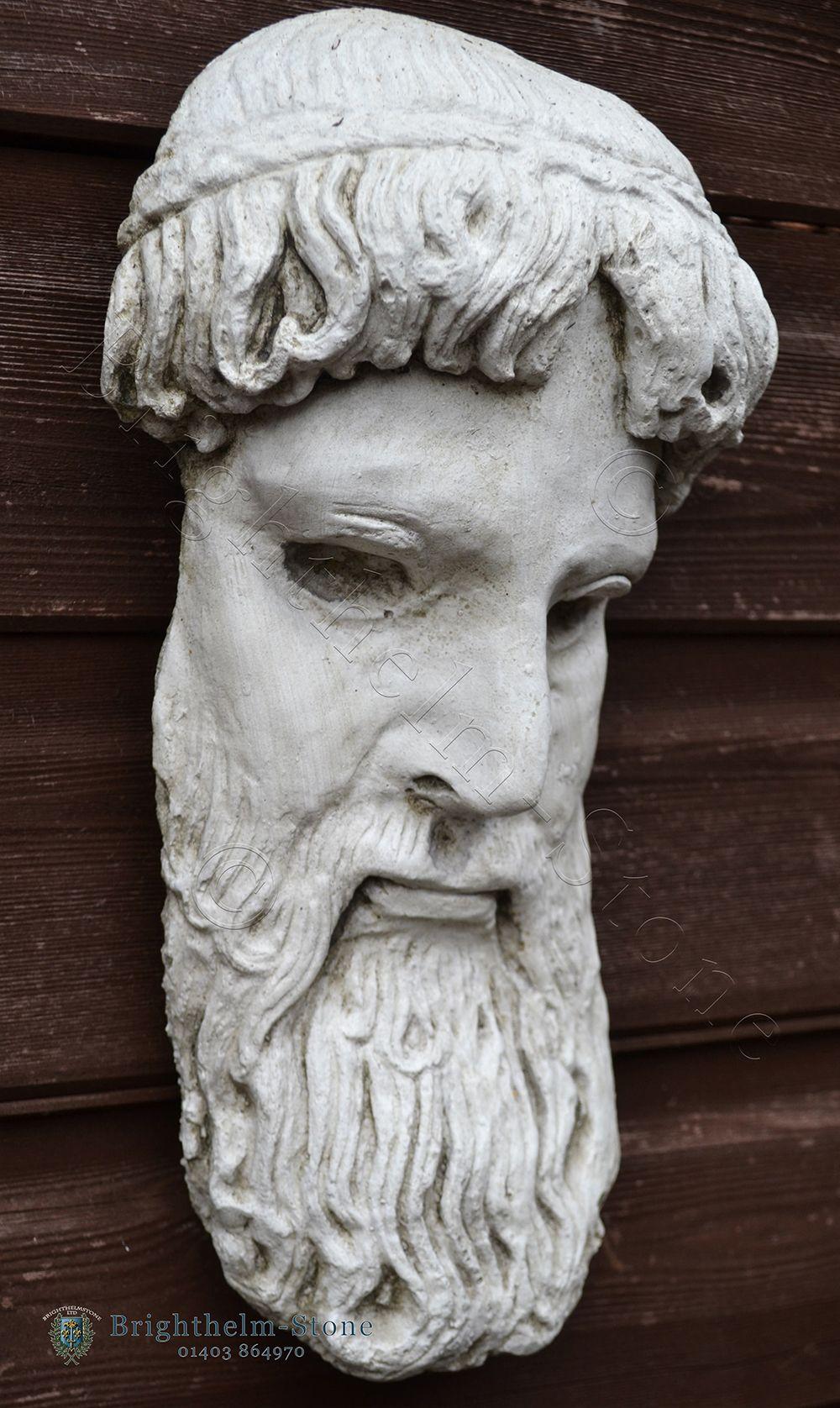 zeus greek god mask garden wall plaque